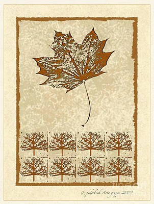 Bare Trees And Maple Leaf Poster
