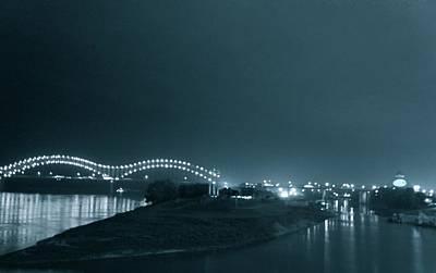 Barge On Mississippi River With Hernando De Soto Bridge, Memphis, Tn Poster by Art Spectrum