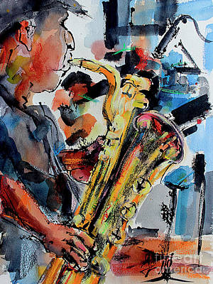Poster featuring the painting Baritone Saxophone Mixed Media Music Art by Ginette Callaway