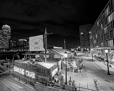 Barking Crab Boston Ma Black And White Poster