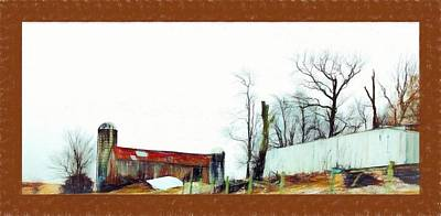 Barn And Buildings In Frederick Maryland Digital Painting Poster by Debra Lynch