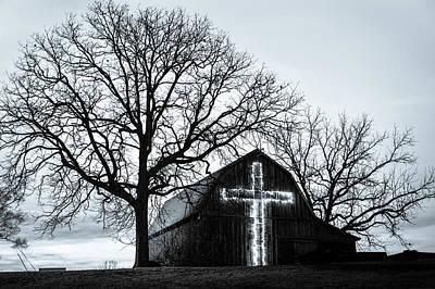 Christmas Light Cross On Barn Poster by Gregory Ballos