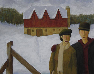 Poster featuring the painting Barn And Nobles by Glenn Quist