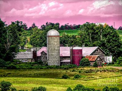 Barn And Silo With Infrared Touch Of Pink Effect Poster