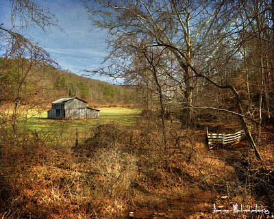 Barn And Stream Poster