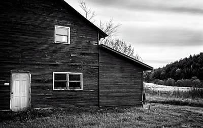 Barn And Wildflowers In Black And White Poster by Greg Mimbs