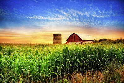 Barn At The Farm At Sunset Poster by Debra and Dave Vanderlaan