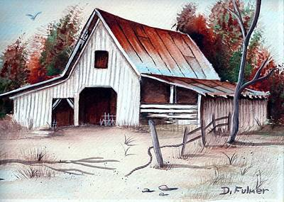 Poster featuring the painting Barn by Denise Fulmer