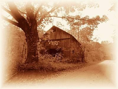 Barn Hocking Co Ohio Sepia Poster