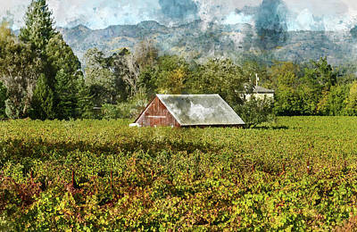 Barn In A Vineyard Poster by Brandon Bourdages
