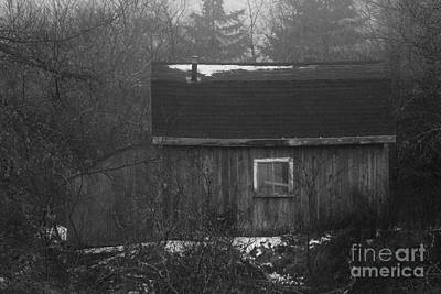 Barn In Fog And Snow Poster