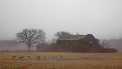 Poster featuring the photograph Barn In Fog - Color by Kirkodd Photography Of New England