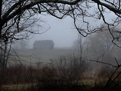 Barn In Fog Poster by Michael L Kimble