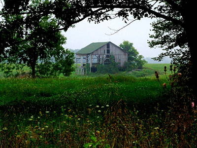 Barn In Meadow Poster by Michael L Kimble