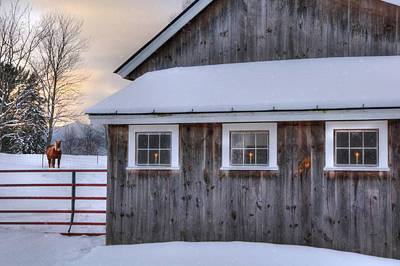 Barn In Snow - White Mountains, New Hampshire Poster by Joann Vitali