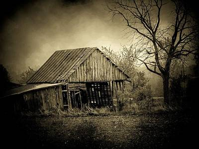 Barn In Storm Poster by Michael L Kimble
