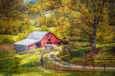 Barn In The Valley Poster by Debra and Dave Vanderlaan