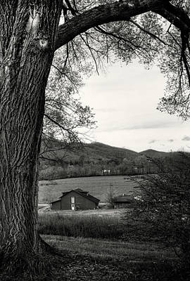 Barn In The Valley In Black And White Poster by Greg Mimbs
