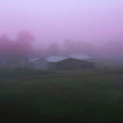 Barn On A Misty Morning Poster