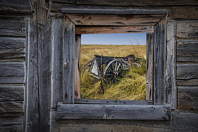 Barn Window With Old Farm Wagon On The Prairie Poster
