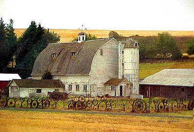Barn With A Wheel Fence Poster