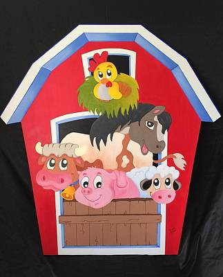 Barn With Animals Poster