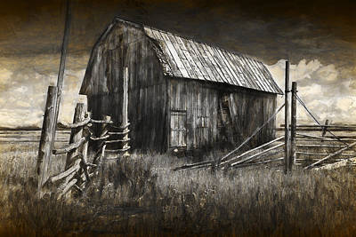 Barn With Wood Fence Poster by Randall Nyhof