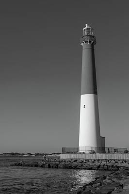 Barnegat Lighthouse And Inlet New Jersey Black And White Poster by Terry DeLuco