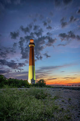 Barnegat Lighthouse At Dusk Poster by Rick Berk