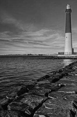 Barnegat Lighthouse Bw Poster by Susan Candelario