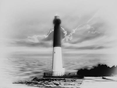 Barnegat Lighthouse In Black And White Poster by Bill Cannon