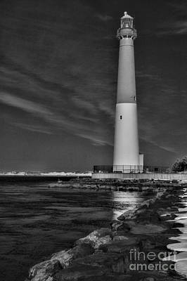 Barnegat Lighthouse In Black And White Poster by Paul Ward