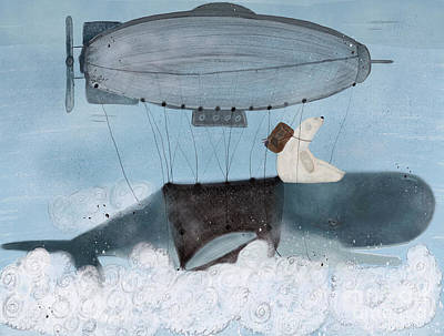 Poster featuring the painting Barney And The Whale by Bri B