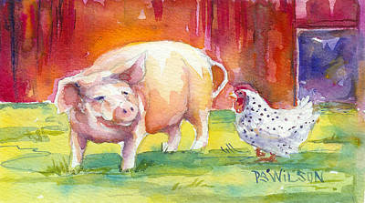 Barnyard Conversations Poster by Peggy Wilson