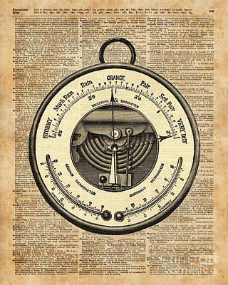 Barometer Vintage Tool Dictionary Art Poster by Jacob Kuch