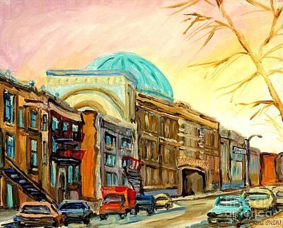 Baron Byng High School Rue St Urbain Montreal Memories Street Scene Canadian Art Carole Spandau Poster