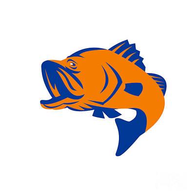 Barramundi Fish Jumping Retro Poster