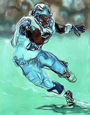 Barry Sanders - Detroit Lions Hof Rb Abstract Poster
