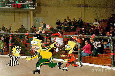Bart Vs Homer Simpson At The Roller Derby Poster