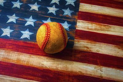 Baseball And Folk Art Flag Poster by Garry Gay