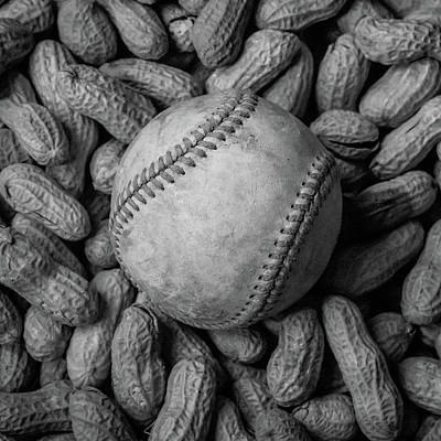 Baseball And Peanuts Black And White Square  Poster