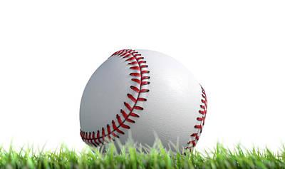 Baseball Ball Resting On Grass Poster
