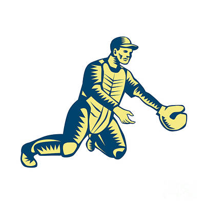 Baseball Catcher Catching Woodcut Poster