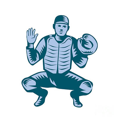 Baseball Catcher Gloves Woodcut Poster by Aloysius Patrimonio