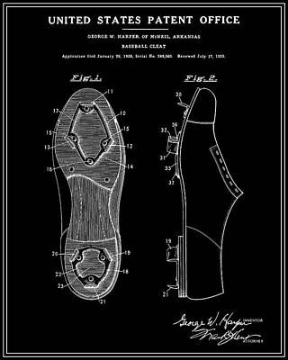 Baseball Cleat Patent - Black Poster by Finlay McNevin