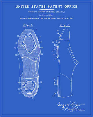 Baseball Cleat Patent - Blueprint Poster by Finlay McNevin