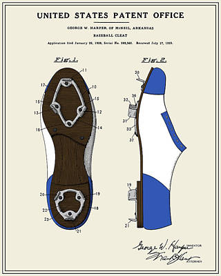 Baseball Cleat Patent Poster by Finlay McNevin