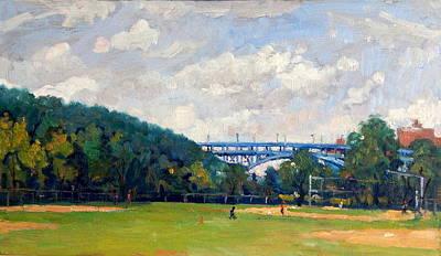 Baseball Fields Inwood Henry Hudson Bridge 8x14 Original Plein Air Impressionist Oil On Panel Poster by Thor Wickstrom
