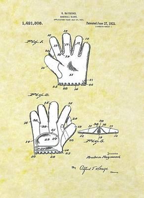 Baseball Glove 1921 Patent Poster