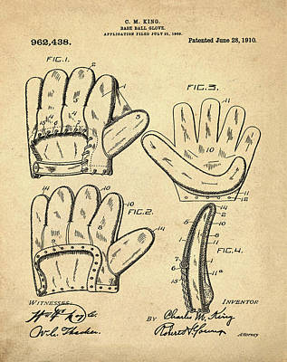 Baseball Glove Patent 1910 Sepia Poster by Bill Cannon